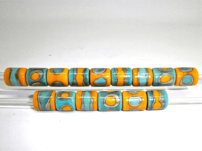 Lampwork Sari Silk Barrel beads in Sunny Yellow and Light Turquoise Blue glass