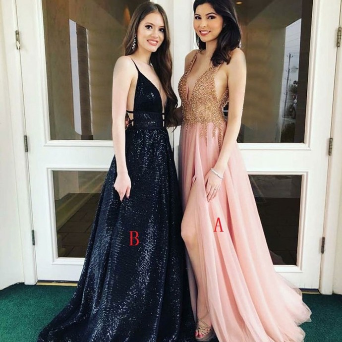 63982ba0b9a9 A-Line Deep V-Neck Sweep Train Pink Tulle by prom dresses on Zibbet