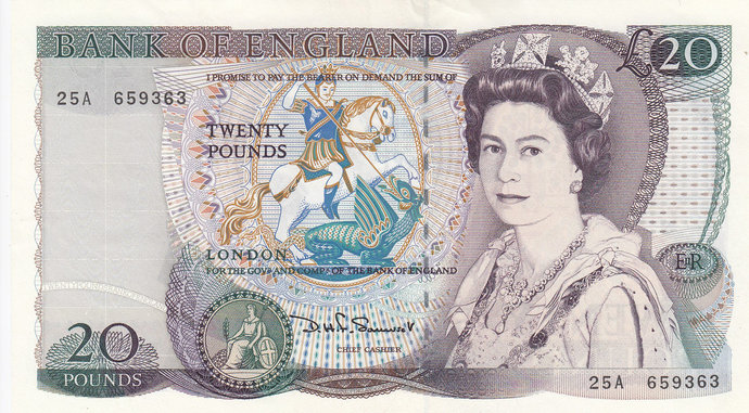 Twenty Pound Note. Bank of England  D.H.F. Somerset 1984 FIRST SERIES