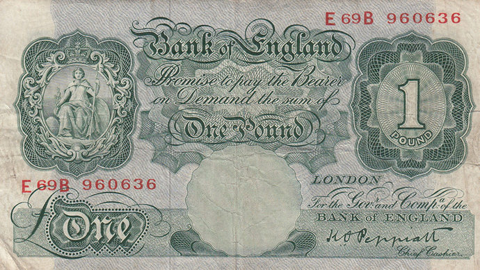 One Pound Note.  Peppiatt