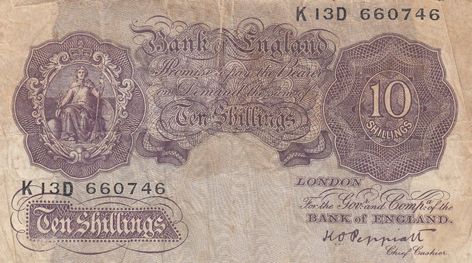 10 Shilling Note.  Peppiatt Mauve Emergency Issue.