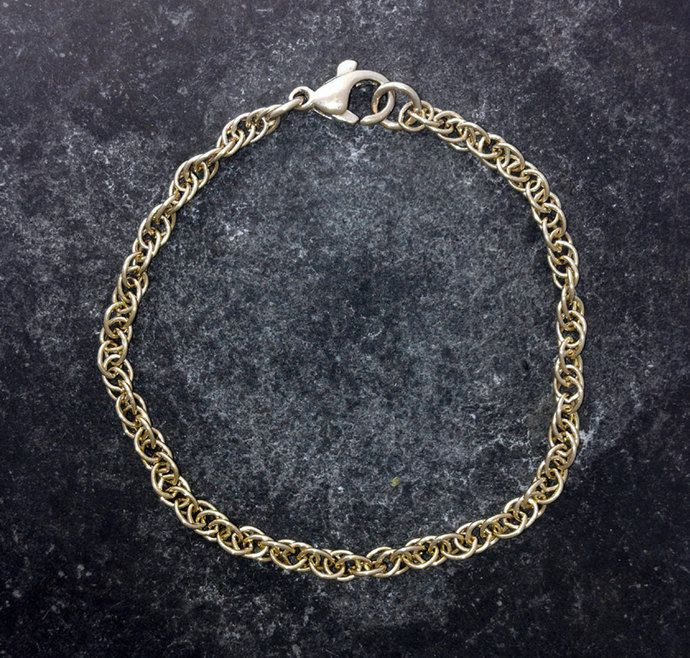 Prince of Wales, rope, bracelet in 9ct gold. UK made.