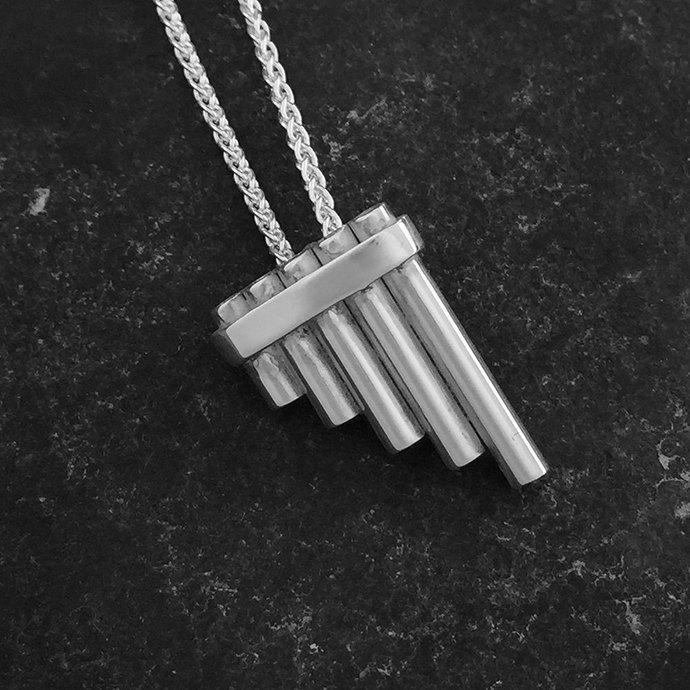 Pan Pipe pendant in sterling silver. Handmade in the UK by me.