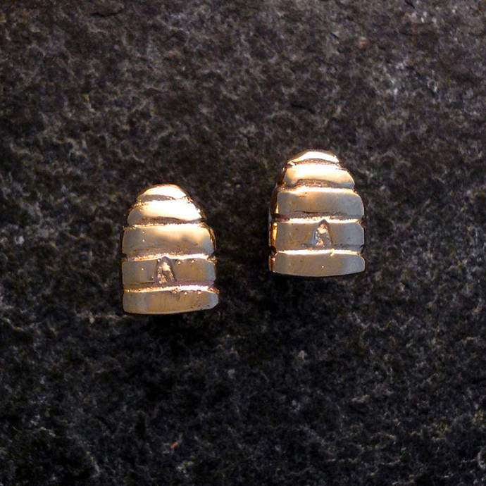 Bee Hive (Skep) earrings in Recycled 9ct gold.