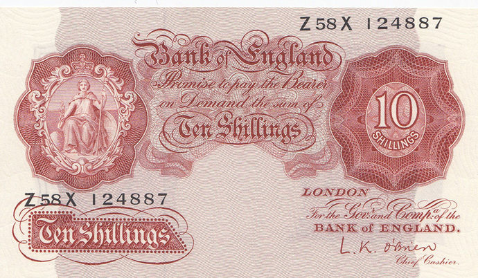 10 Shilling Note.  O'Brien 1955 Last Series.