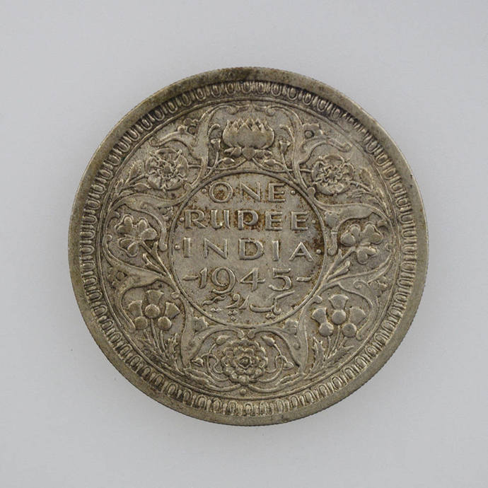 One Rupee, India, 1945, Small 5.
