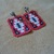 Native American Style Square Stitched Clip on beaded Rug Design Earrings