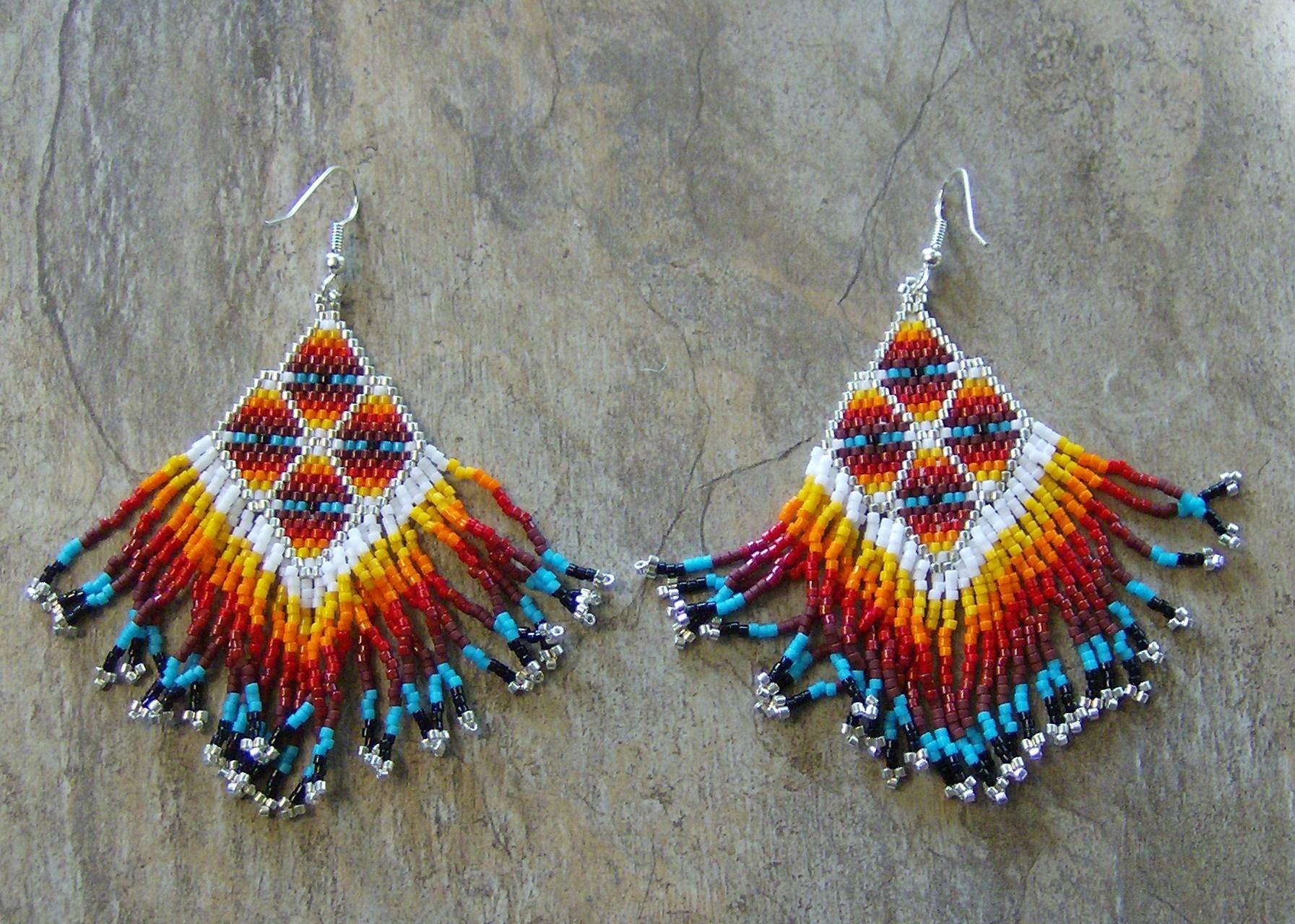 Spirit Watcher Earrings Hand Made Seed Beaded