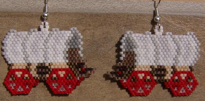 Covered Wagon Earrings, Hand Made Seed Beaded