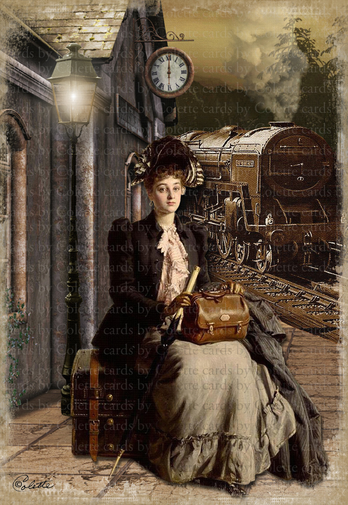 Lady Waiting for the Train Digital Collage Greeting Card1119