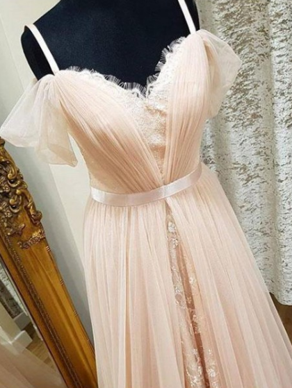 Charming Prom Dress,Tulle Prom Gown,Lace Prom Dress,A-Line Prom Gown 836