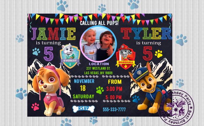twin paw patrol invitation custom paw by bestbirthdayparty