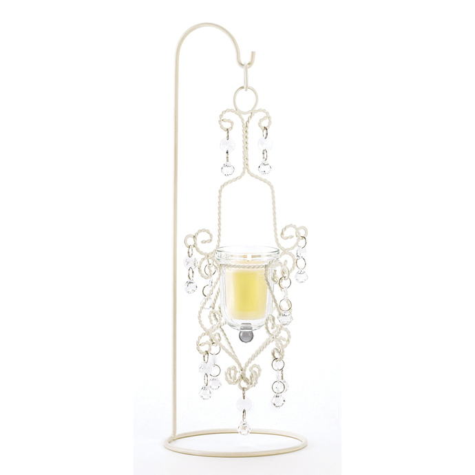 Koehler Home Decorative Vintage Crystal Drop Candle Holder with Stand