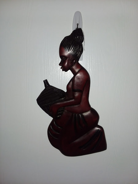 """16"""" Mahogany wood carved woman"""