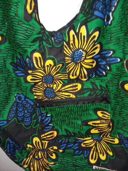 African handmade green, yellow and blue cross bag