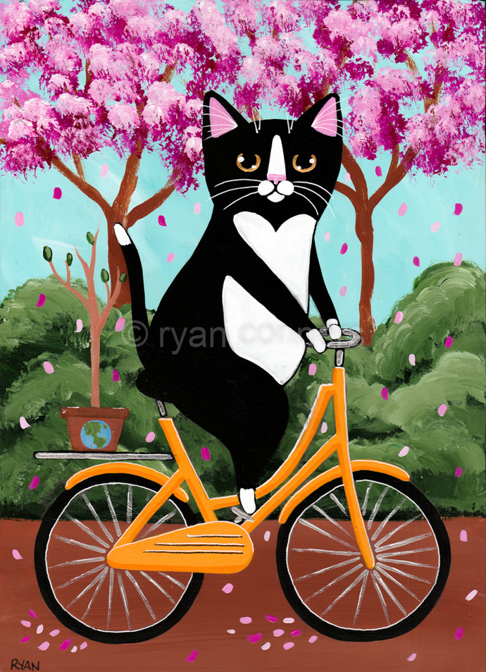 Earth Day Bicycle Ride Tuxedo Cat Original Cat Folk Art Painting
