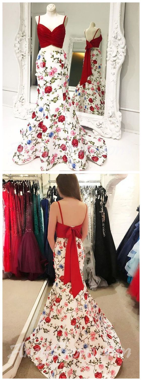 Elegant Two Pieces Mermaid Prom Dresses Red Floral Prom Dress/Evening