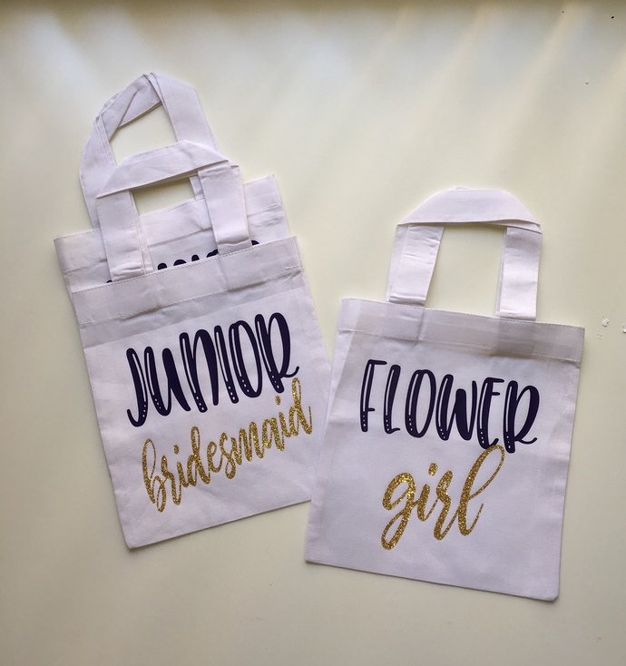 Flower girl Custom Tote bag, junior bridesmaid gifts, bridesmaids tote bags