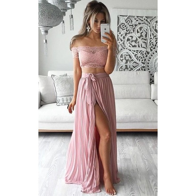 2016 Two Piece Prom Dresses Lace Top Off the Shoulder Short Sleeves Thigh-High