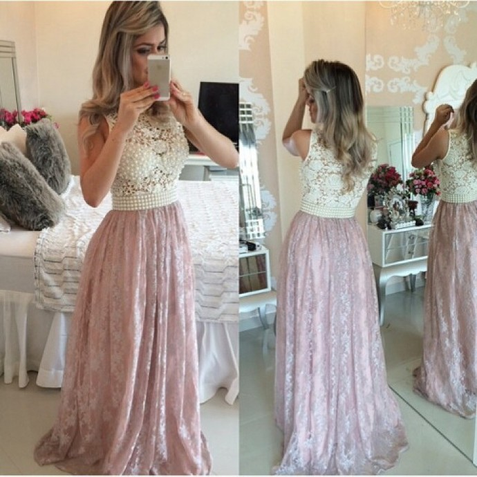 2018 Prom Dresses,Pink Evening Gowns,Lace Formal Dresses,Prom Dresses ,2018