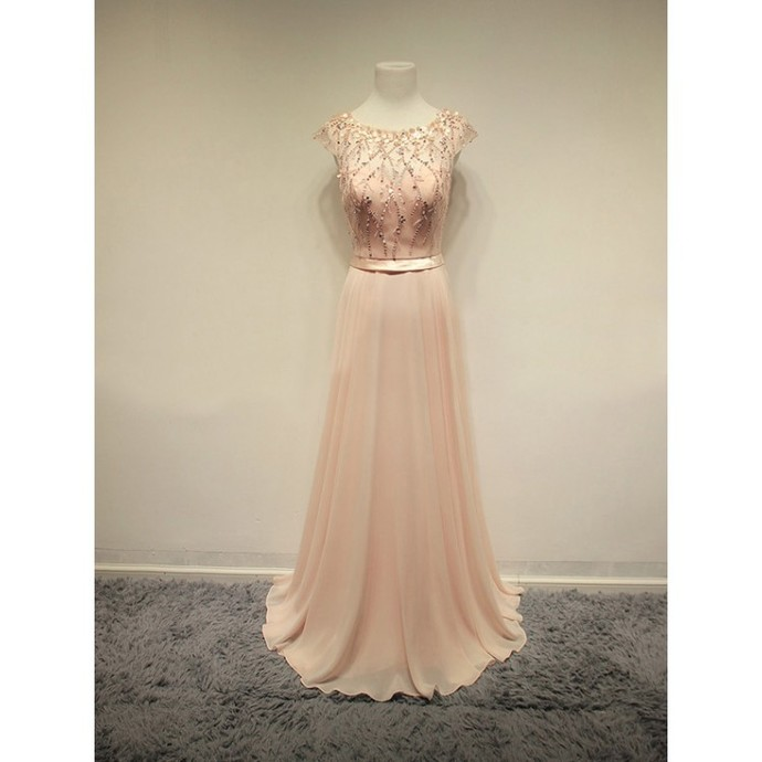 2016 Prom Dresses,Blush Pink Evening Gowns,Sexy Formal Dresses,Chiffon Prom