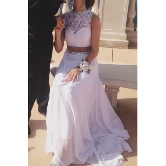 2 Piece Prom Gown,Two Piece Prom Dresses,White Evening Gowns,2 Pieces Party