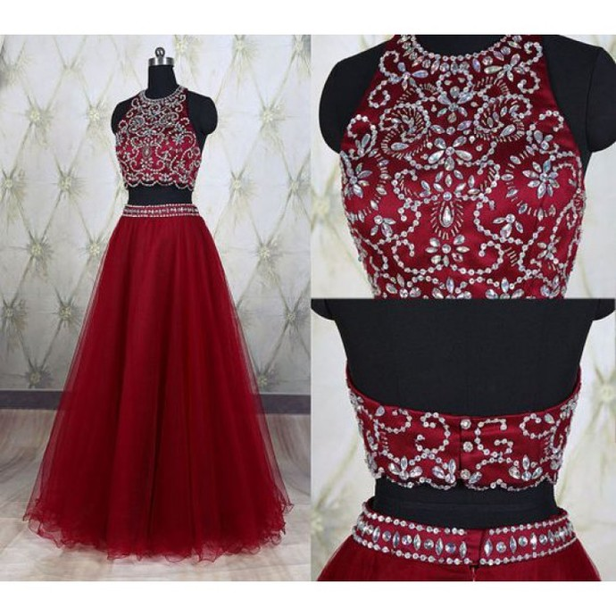 3ac14937bb02 2 Piece Prom Gown,Two Piece Prom Dresses,Red Evening Gowns,2 Pieces