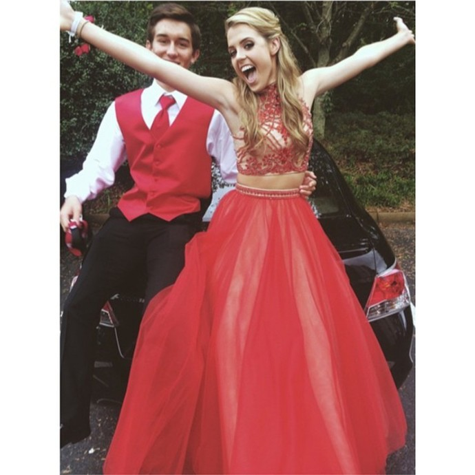 2 Piece Prom Gown,Two Piece Prom Dresses,Red Evening Gowns,2 Pieces Party