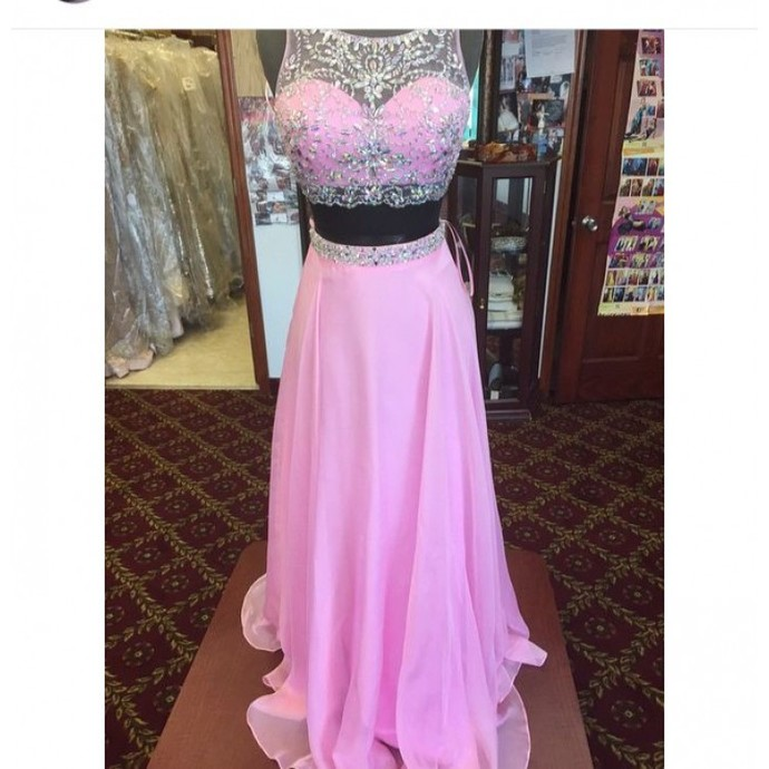 2 Piece Prom Gown,Two Piece Prom Dresses,Pink Evening Gowns,2 Pieces Party