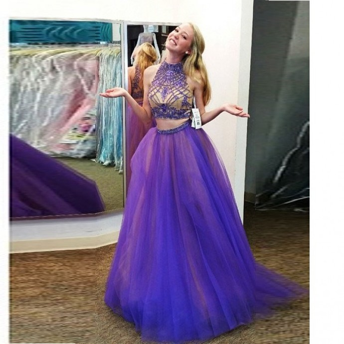 2 Piece Prom Gown,Two Piece Prom Dresses,Grape Evening Gowns,2 Pieces Party