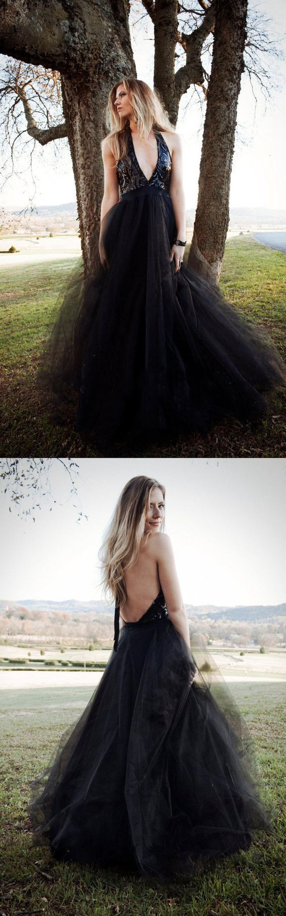 Charming A-Line Halter Black Long Prom Dress With Sequins Evening Dress Tulle