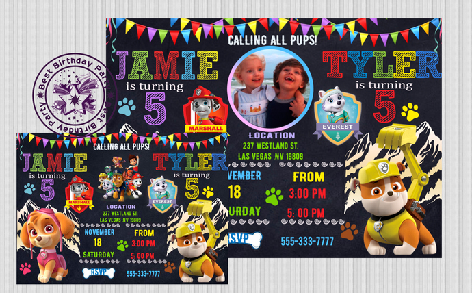 Paw Patrol Twin Birthday Invitation Patril