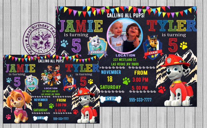 Paw Patrol Twin Birthday Invitation