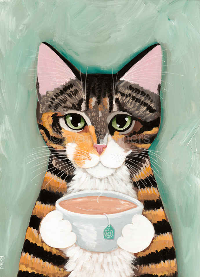WIllow With A Cuppa Tea Original Cat Folk Art Painting
