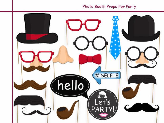 Unique Party Photo Booth Prop Set - 18 Piece PRINTABLE, birthday idea, dress up,