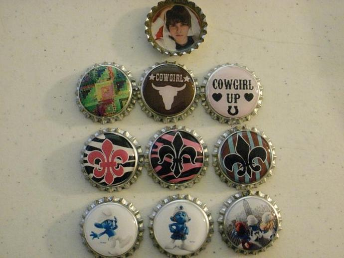10 Assorted Finished Bottle Caps