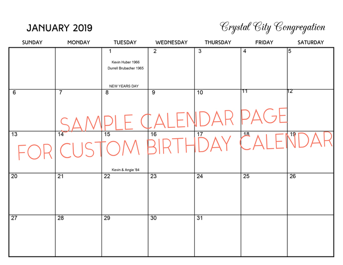 ... Family Verses From Psalms Birthday Calendar, 2019 Custom Birthday  Calendar, ...