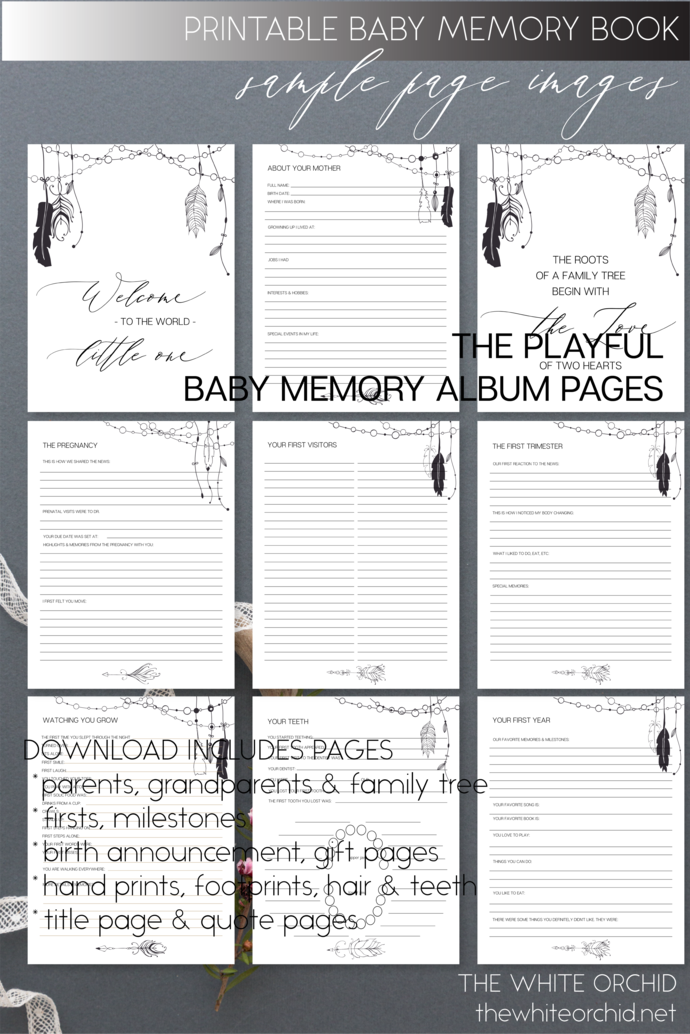 Printable Tribal Baby Memory pages, baby girl, keepsake album pages, custom