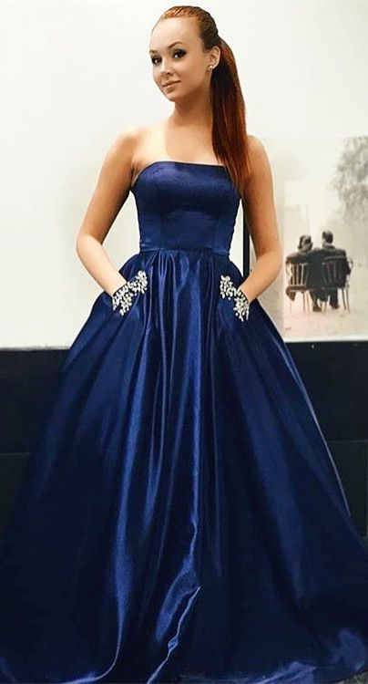 Charming Prom Dress,Satin Prom Gown,Strapless Prom Dress,A-Line Prom Gown 843