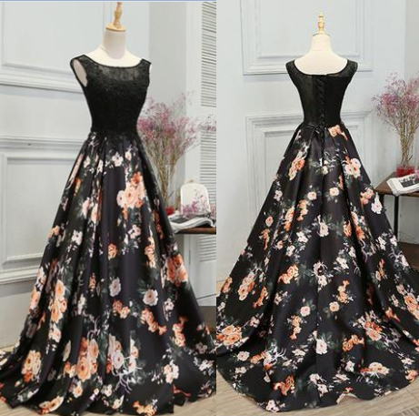 Charming Prom Dress,Print Prom Gown,A-Line rom Dress, O-Neck Prom Gown 846