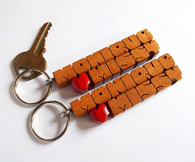 "SPECIAL for 2 - Custom ""His and Hers"" Love Keychains - Cherry Wood Names  - FREE"