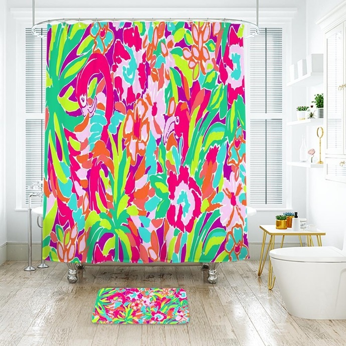 Lilly Pulitzer Lulu Waterproof Fabric Shower by NathalyShop on Zibbet