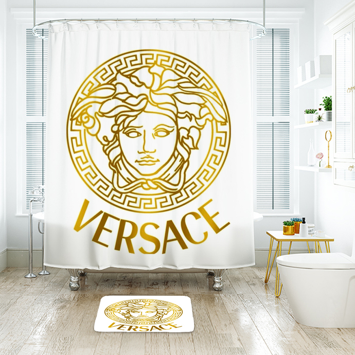 Versace 3 Fashion Logo Waterproof Fabric Shower Curtain Bath Mat For Decor