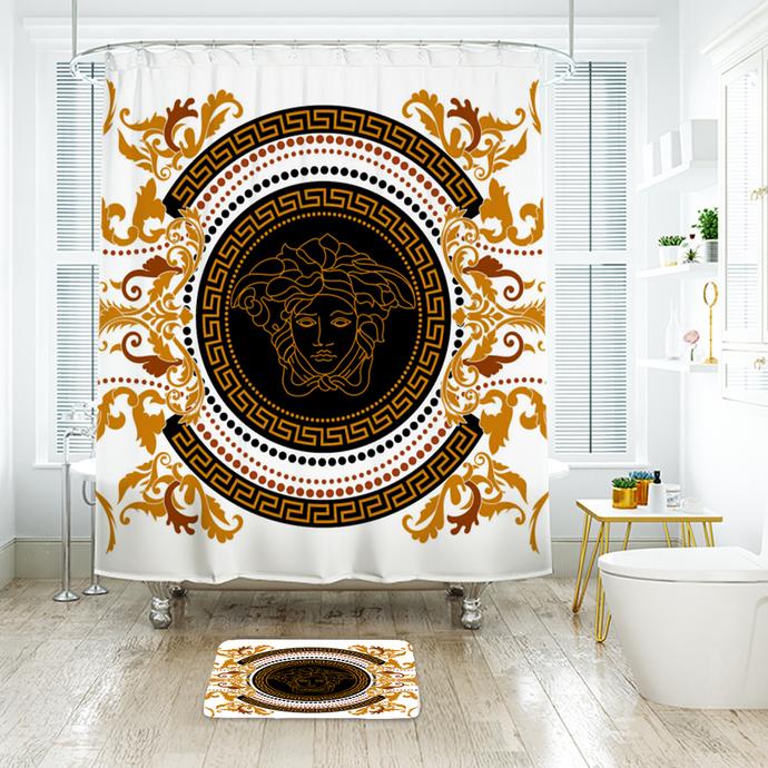 Versace 8 Fashion Logo Waterproof Fabric Shower Curtain Bath Mat For Decor