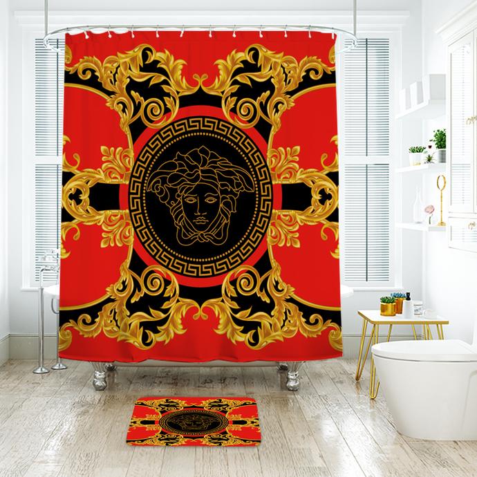 Versace 9 Fashion Logo Waterproof Fabric Shower Curtain Bath Mat For Decor
