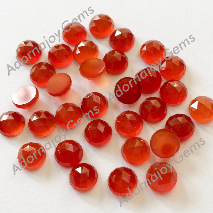 Red Onyx 4mm Gemstone Cabochon Rose Cut FOR FOUR
