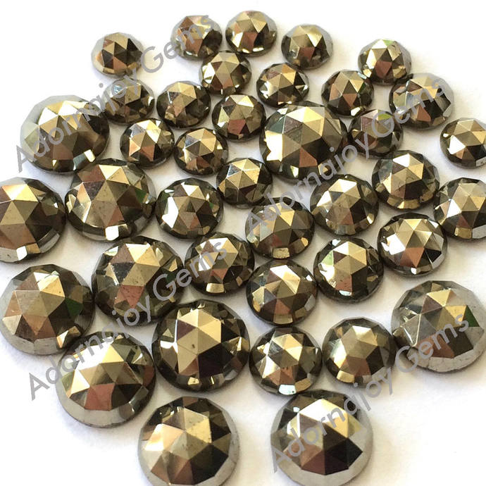 Pyrite 5mm Gemstone Cabochon Rose Cut FOR TWO