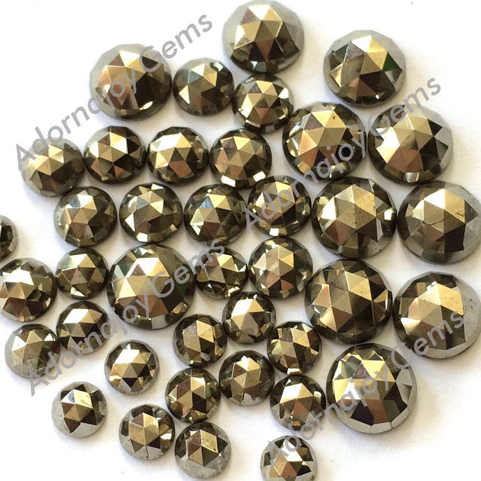 Pyrite 6mm Gemstone Cabochon Rose Cut FOR TWO