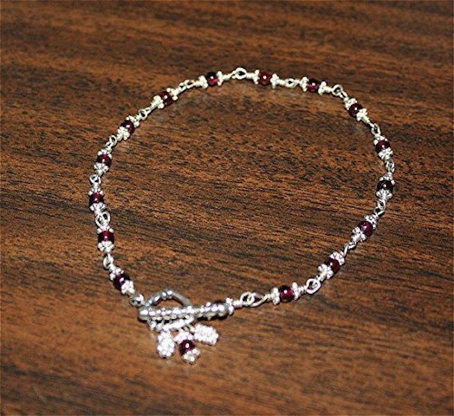 Sparkling Garnet Sterling Silver Anklet