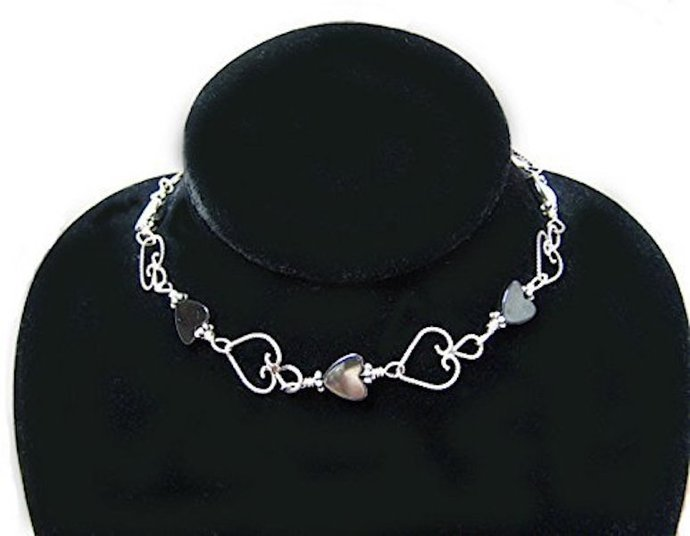Sterling Silver Filigree Hearts Anklet Wire Wrapped